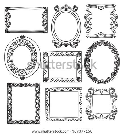 set of vintage photo frame in doodle style