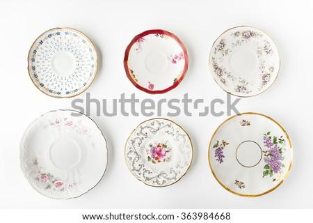 set of vintage plates on the...