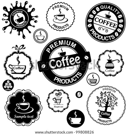 Set of vintage retro coffee badges and labels isolated on White background. illustration