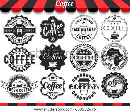 Set of vintage retro coffee elements styled design, frames, labels and badges