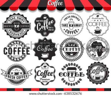 Set of vintage retro coffee elements styled design, frames, labels and badges