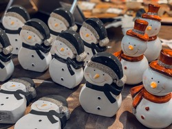 Set of vintage style christmas decorations at Tokyo christmas market.