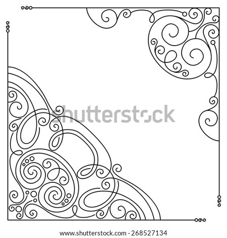 Set of Vintage Template with Ornate Lace Corners. Hand Drawn Borders in Trendy Linear Style. Wedding Decor