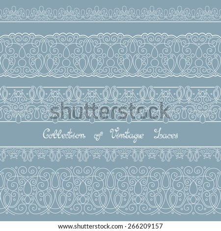 Set of Vintage Template with Ornate Laces. Hand Drawn Borders in Trendy Linear Style. Wedding Decor