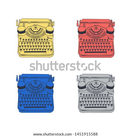 Set of 4 vintage typewriters color illustrations, inspire writers, screenwriters, copywriters and other creative people