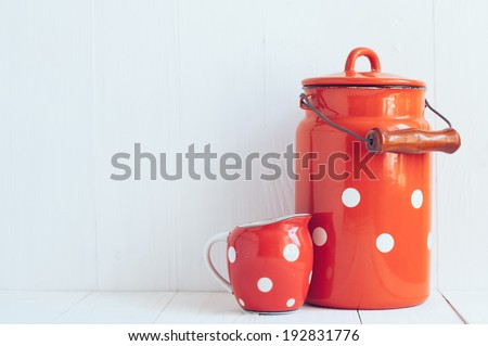 set of vintage utensils  milk...