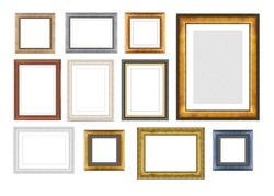 Set of vintage wooden frames for pictures or photos, frames for a mirror isolated on white background. With clipping path