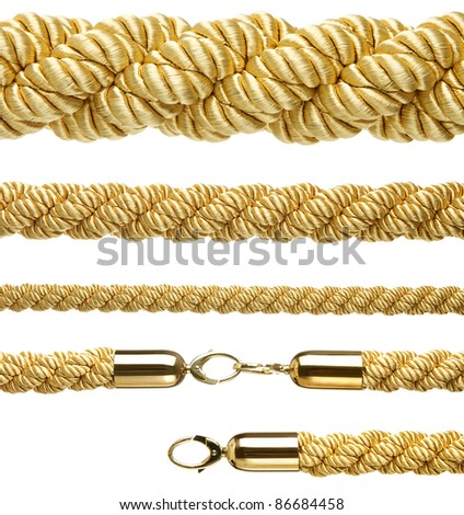 "Set of ""vip entrance"" gold ropes isolated on white background"
