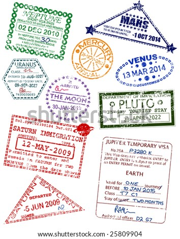 Set of visas from different planets. Vector file available.