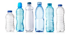 set of water plastic bottle isolated on white background