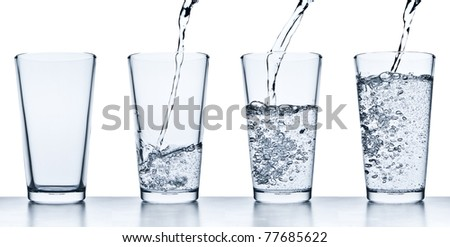 set of water pouring into glass on white background
