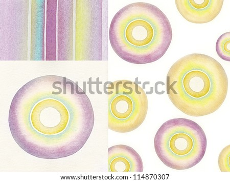 Set of watercolor abstract elements