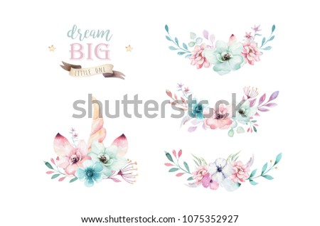 Set of watercolor boho floral bouquets. Bohemian natural frame: leaves, feathers, flowers, Isolated on white background. Artistic decoration illustration.