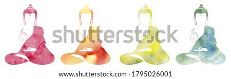 Set of Watercolor colorful buddha. Symbol of buddha isolated on white background. Indian, Buddhism, Spiritual motifs. Yoga, spirituality. Buddha silhouette for spa logo