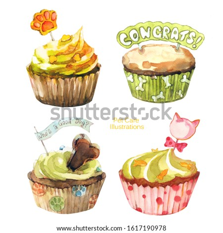 Set of watercolor cupcakes for pets. Cake painting for dog party. Pet care. Dog and cat birthday.