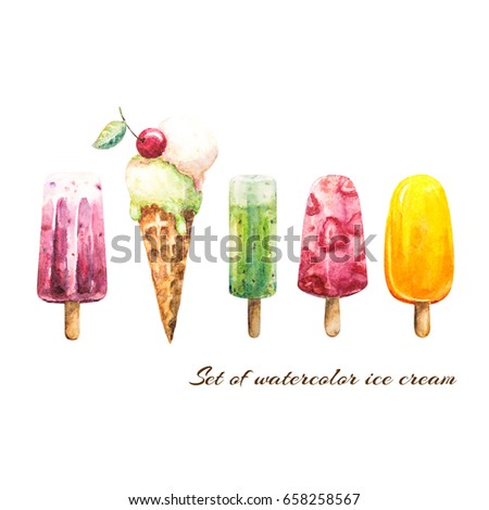 Set of watercolor delicious ice cream on white background