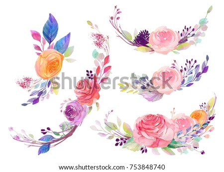 Set of watercolor flowers, leaves, branches, isolated on white. Sketched colorful wreath,groups, garland for romantic wedding, valentines day design. Handdrawn Vector, imitation of Watercolour style. - Shutterstock ID 753848740