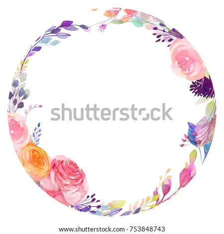 Set of watercolor flowers, leaves, branches, isolated on white. Sketched colorful wreath,groups, garland for romantic wedding, valentines day design. Handdrawn Vector, imitation of Watercolour style. - Shutterstock ID 753848743