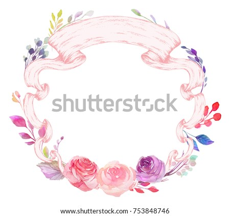 Set of watercolor flowers, leaves, branches, isolated on white. Sketched colorful wreath,groups, garland for romantic wedding, valentines day design. Handdrawn Vector, imitation of Watercolour style. - Shutterstock ID 753848746
