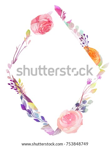 Set of watercolor flowers, leaves, branches, isolated on white. Sketched colorful wreath,groups, garland for romantic wedding, valentines day design. Handdrawn Vector, imitation of Watercolour style. - Shutterstock ID 753848749