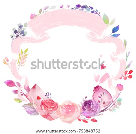 Set of watercolor flowers, leaves, branches, isolated on white. Sketched colorful wreath,groups, garland for romantic wedding, valentines day design. Handdrawn Vector, imitation of Watercolour style. - Shutterstock ID 753848752