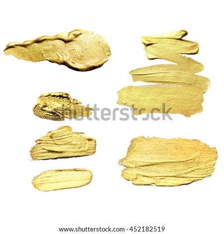 Set of watercolor  golden stain background. Abstract Watercolour  Paint Texture. Hand drawn brush stroke design element. #452182519