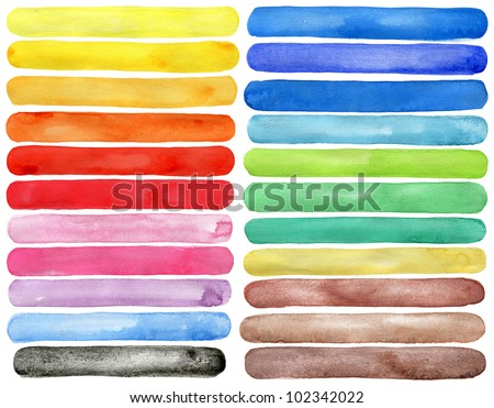 Set of watercolor hand painted brush strokes isolated on white Made myself.
