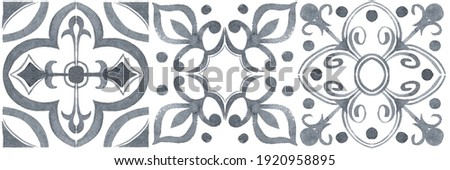 Set of watercolor illustrations - ceramic tile stylization with gray ornaments. Azulejos portugal, Turkish ornament, Moroccan tile mosaic, Talavera ornament. Foto stock ©
