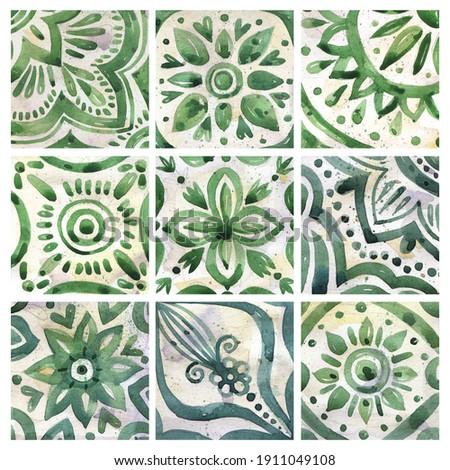 Set of watercolor illustrations - ceramic tile stylization with green ornaments. Azulejos portugal, Turkish ornament, Moroccan tile mosaic, Talavera ornament. Foto stock ©