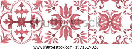 Set of watercolor illustrations - ceramic tile stylization with red ornaments. Azulejos portugal, Turkish ornament, Moroccan tile mosaic, Talavera ornament.
