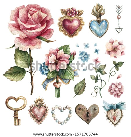 Set of watercolor illustrations in vintage style with flowers, leaves, hearts, precious stones. Illustrations for Valentine's day or wedding, hearts elements, floral elements.  Сток-фото ©