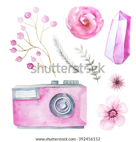 Set of watercolor photo camera with flowers, branches and gem in pink color. Hand painted photo clip art perfect for logo design and DIY project.