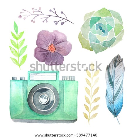 Set of watercolor photo camera with flowers, leaves and feather. Hand painted photo clip art perfect for logo design and DIY project.