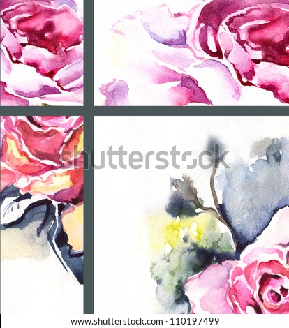 Set of watercolor pictures.Color illustration flowers.