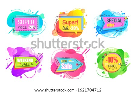 Set of watercolor sale labels on abstract liquid shapes isolated. Mega discounts and final price, special offer percent off promo adverts on color tags
