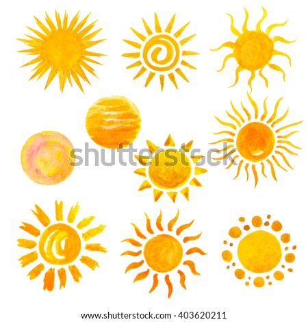 set of watercolor sun icons isolated on white
