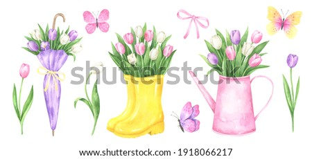 Set of watercolor umbrella, rubber boots, watering can with tulip bouquets, individual tulips and butterflies. Perfect for holiday cards, invitations and posters. Foto stock ©