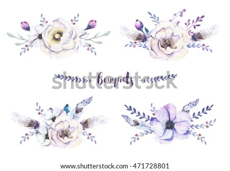 Set Of Watercolor Vintage Floral Bouquets With Feather Boho Spring Flower And Leaf Frame Isolated