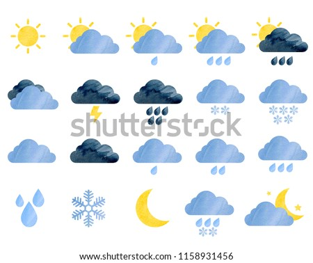 Set of watercolor weather icons. Sun, clouds, rain drops, snowflakes, moon, stars, storm. Perfect for sticker or web design. Isolated on white background.