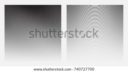 Set of Wave Oblique Smooth Lines Pattern in Raster stock photo