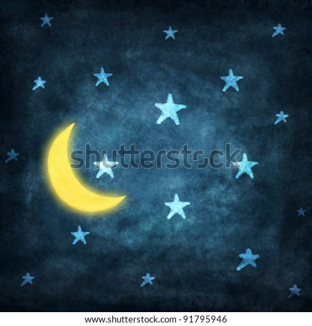 set of weather icon drawing by chalk ,night time with stars and moon