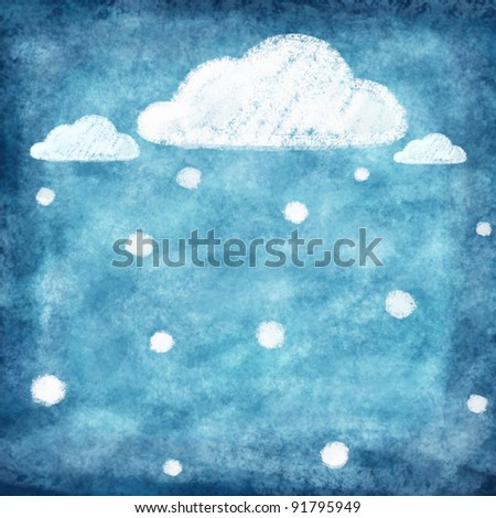 set of weather icon painting ,winter snow