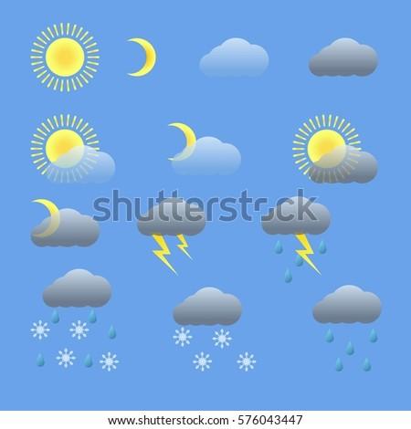 Set of weather icons. Sunny, rain, snow, thunder, lightning icon. Isolated on blue background. Flat  stock illustration