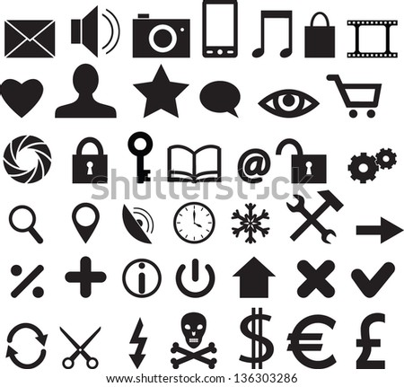 Set of web, business and mobile icons - stock photo