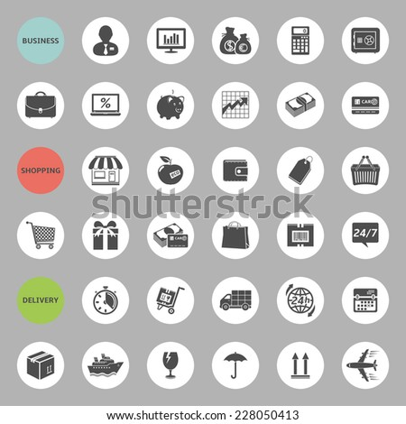 Set of web icons for business, shopping and delivery