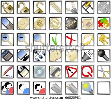 set of web icons on isolated white background