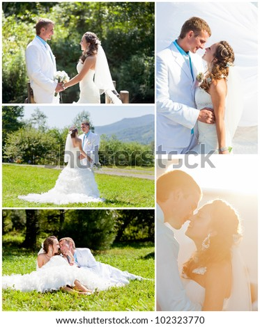 Set of wedding photography - bride and groom