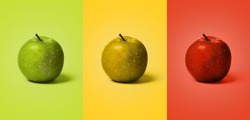 Set of wet green, yellow and red apples on the same color background like apple. water drops