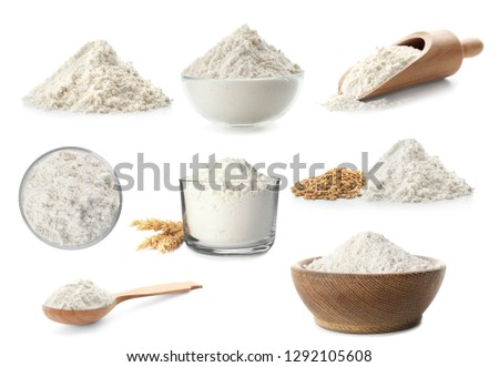 Set of wheat flour in different dishware on white background #1292105608