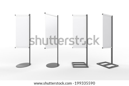 Set of white  blank banner japanese flag display with  aluminum frame , clipping path included. template for  your design or artwork